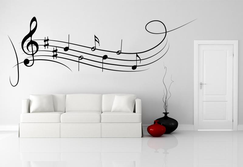Note musicali adesive per decorazione pareti camera note for Bordure adesive per pareti